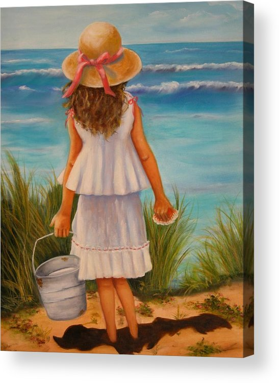 Children Acrylic Print featuring the painting At The Seashore by Joni McPherson