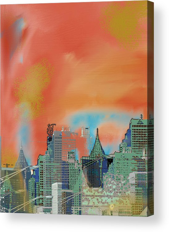 Atlanta Acrylic Print featuring the mixed media Atlanta Abstract After The Tornado by Ann Tracy