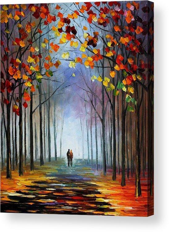 Afremov Acrylic Print featuring the painting Autumn Fog by Leonid Afremov