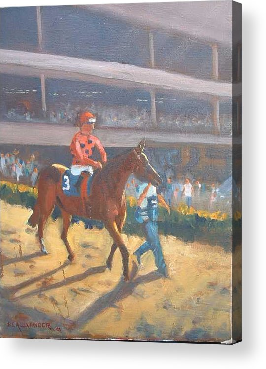 The Horses Are Approaching The Track For The Feature Race Of The Day...no. 3 Azari... Acrylic Print featuring the painting Azari A Sure Winner by Bryan Alexander