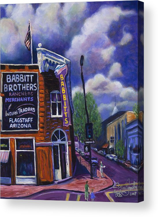 Historic Acrylic Print featuring the painting Babbitt Bldg. by Steve Lawton