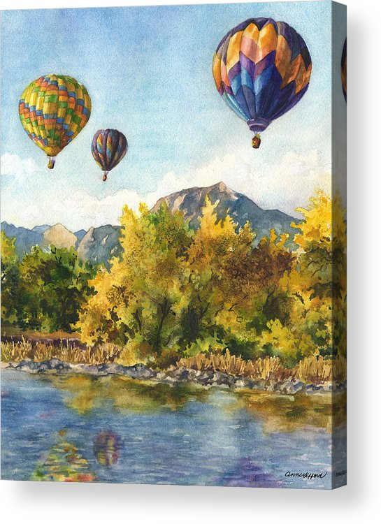 Hot Air Balloons Painting Acrylic Print featuring the painting Balloons At Twin Lakes by Anne Gifford