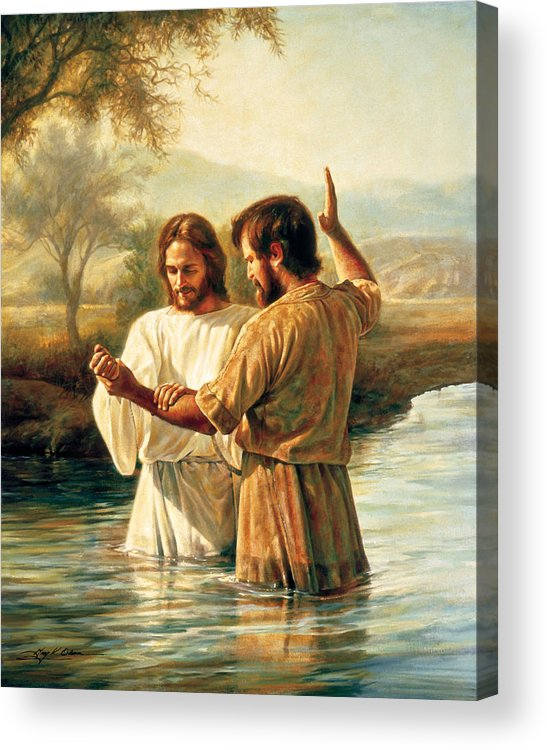 Jesus Acrylic Print featuring the painting Baptism Of Christ by Greg Olsen