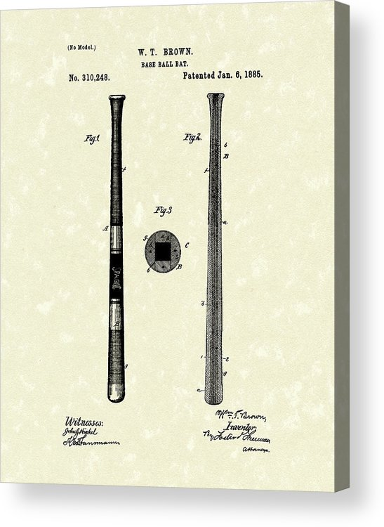 Baseball Acrylic Print featuring the drawing Baseball Bat 1885 Patent Art by Prior Art Design
