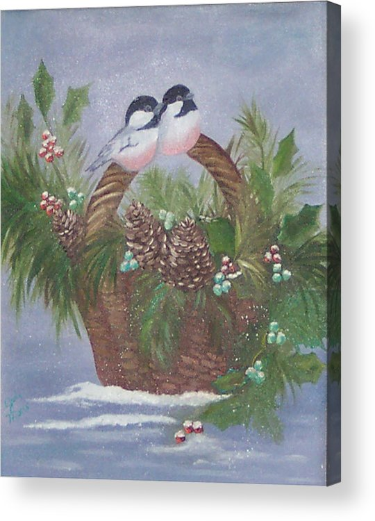Nature Acrylic Print featuring the painting Basket Of Pine by Judy Moses