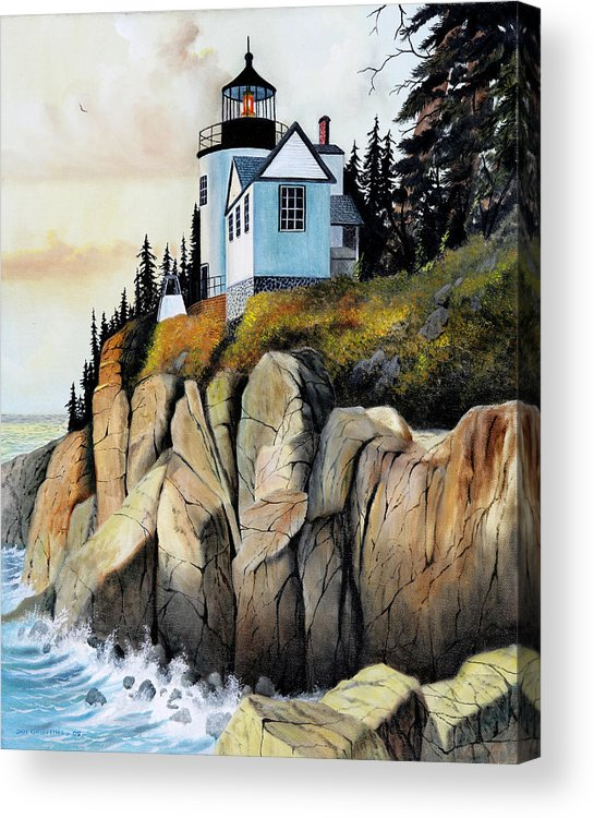 Lighthouse Acrylic Print featuring the painting Bass Light by Don Griffiths