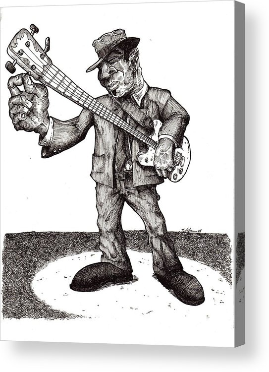 Blues Acrylic Print featuring the drawing Bass by Tobey Anderson
