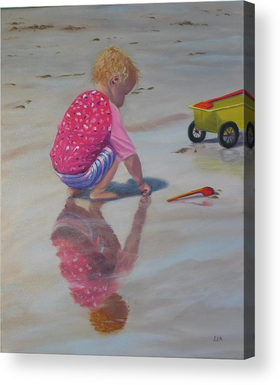 Baby Acrylic Print featuring the painting Beach Baby by Lea Novak
