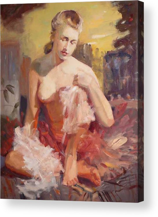 A Seated Figure Of A Pensive Delicate Girl In A Contemporary Ballet Attire Acrylic Print featuring the painting sold Before Dance by Irena Jablonski