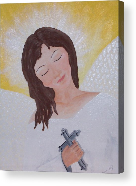 Angel Acrylic Print featuring the painting Believe by Jennifer Hernandez