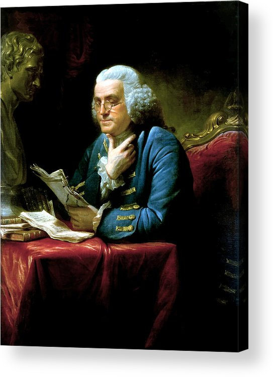 Benjamin Franklin Acrylic Print featuring the painting Ben Franklin by War Is Hell Store