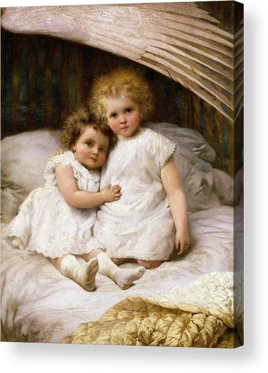 Beds; Bedchamber; Protection; Angel; Guardian Acrylic Print featuring the painting Beneath The Wing Of An Angel by William Strutt