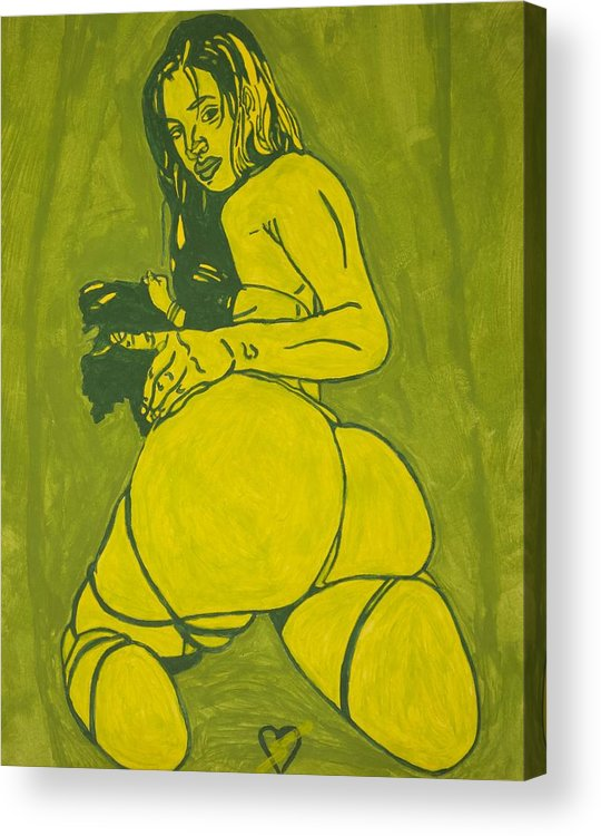 Sexy Green Woman Acrylic Print featuring the painting Sexy Green Woman by Stormm Bradshaw