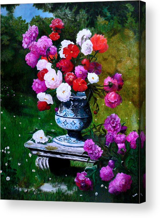 Stilllife Acrylic Print featuring the painting Big Vase With Peonies by Helmut Rottler