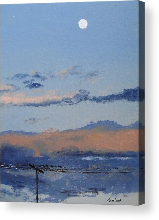 Landscape Acrylic Print featuring the painting Birds On A Wire by Barbara Andolsek