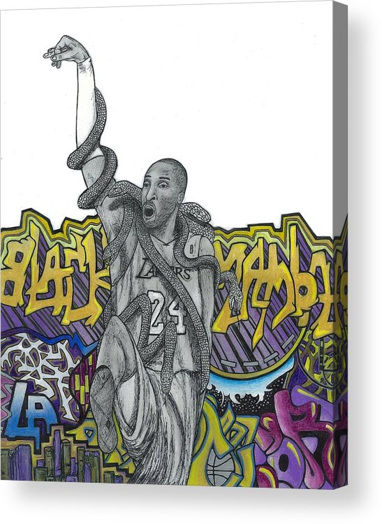 Kobe Bryant Acrylic Print featuring the drawing Black Mamba by Steve Weber