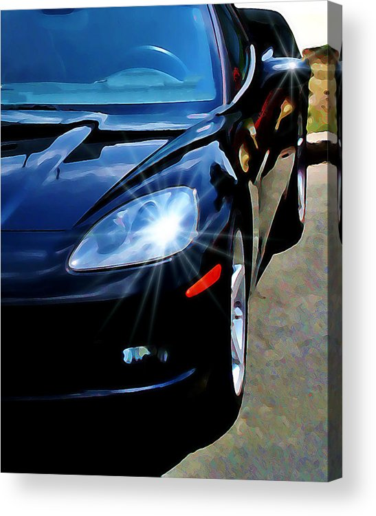 Car Acrylic Print featuring the photograph Black Vette by Perry Webster