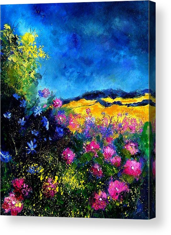 Landscape Acrylic Print featuring the painting Blue And Pink Flowers by Pol Ledent