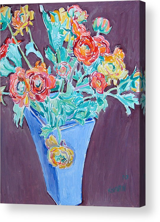 Blue Acrylic Print featuring the painting Blue Vase With Flowers by Vitali Komarov