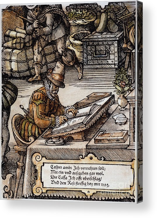 16th Century Acrylic Print featuring the photograph Bookkeeper, 16th Century by Granger