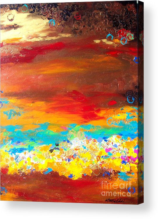 Brown Acrylic Print featuring the painting Brown And Blue Abstract by Karen Fields