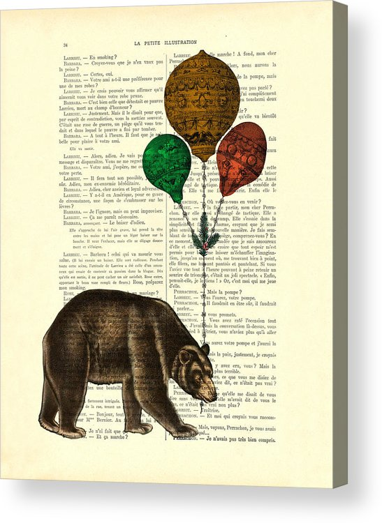 Bear Acrylic Print featuring the digital art Brown Bear With Balloons by Madame Memento