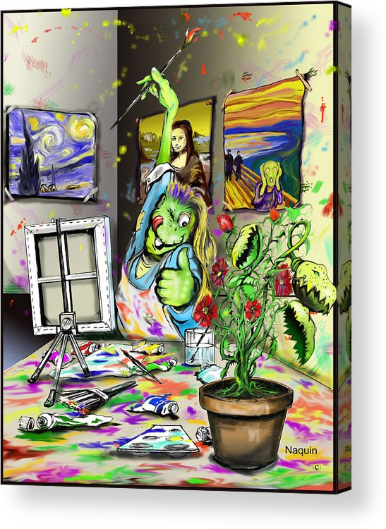 Cartoon Artist Acrylic Print featuring the painting Budding Artist by Keith Naquin