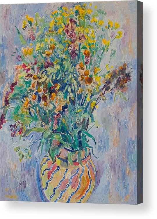Wild Flowers Acrylic Print featuring the painting Bunch Of Wild Flowers In A Vase by Vitali Komarov