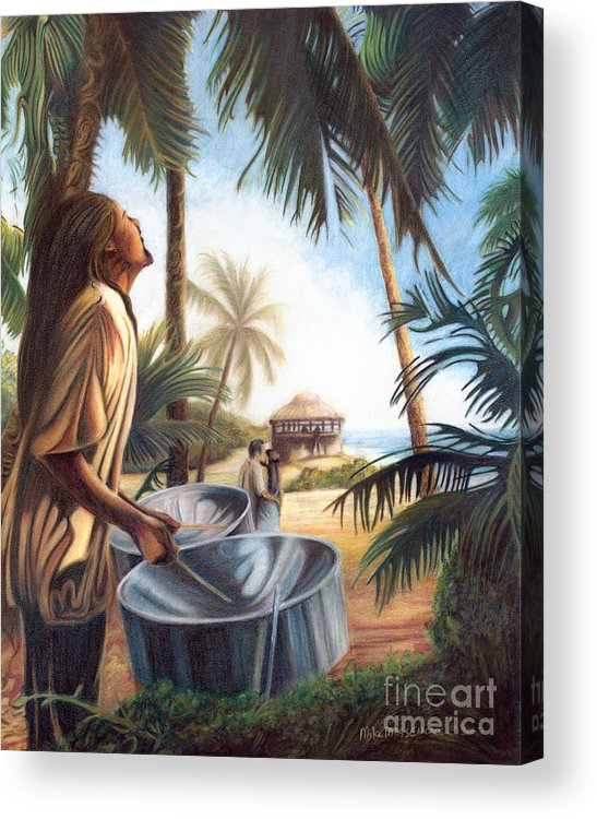 Tropical Acrylic Print featuring the painting Call To Paradise by Mike Massengale