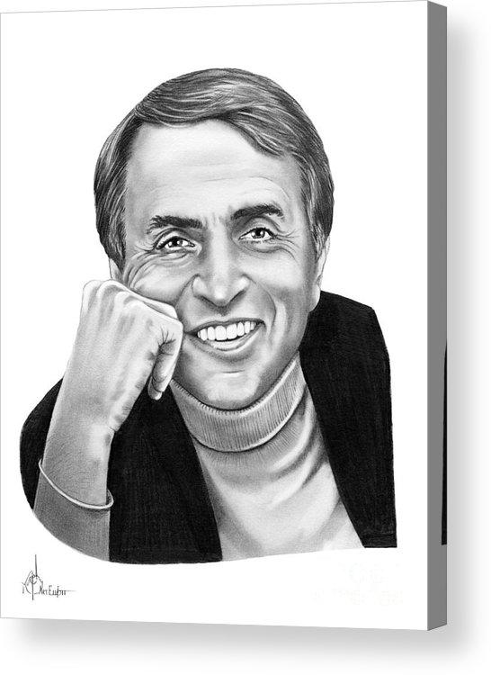Pencil Acrylic Print featuring the drawing Carl Sagan by Murphy Elliott