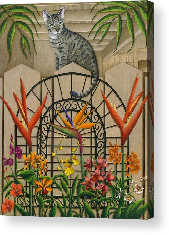 Gray Tabby Cat Acrylic Print featuring the painting Cat Cheetah's Fence by Carol Wilson