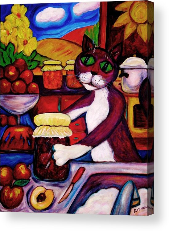 Diconnollyart Acrylic Print featuring the painting Cat In The Kitchen Bottling Fruit by Dianne Connolly
