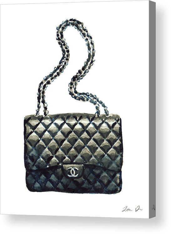 273db18cd775 Chanel Handbag Acrylic Print featuring the painting Chanel Quilted Handbag  Classic Watercolor Fashion Illustration Coco Quotes