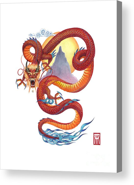 Dragon Acrylic Print featuring the painting Chinese Red Dragon by Melissa A Benson