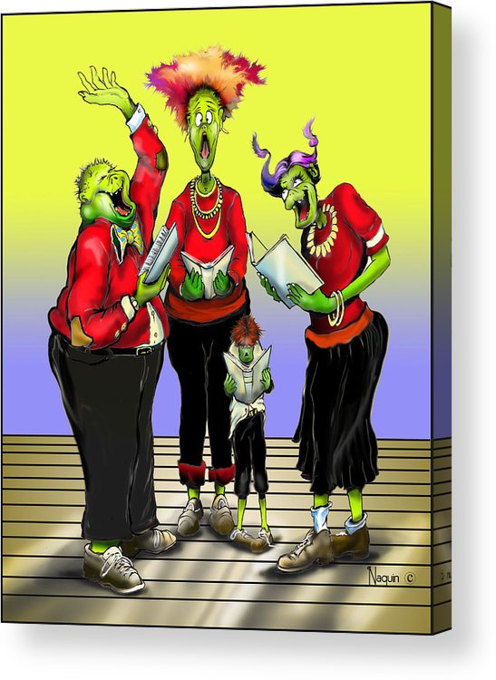 Cartoon Acrylic Print featuring the drawing Choir Practice by Keith Naquin