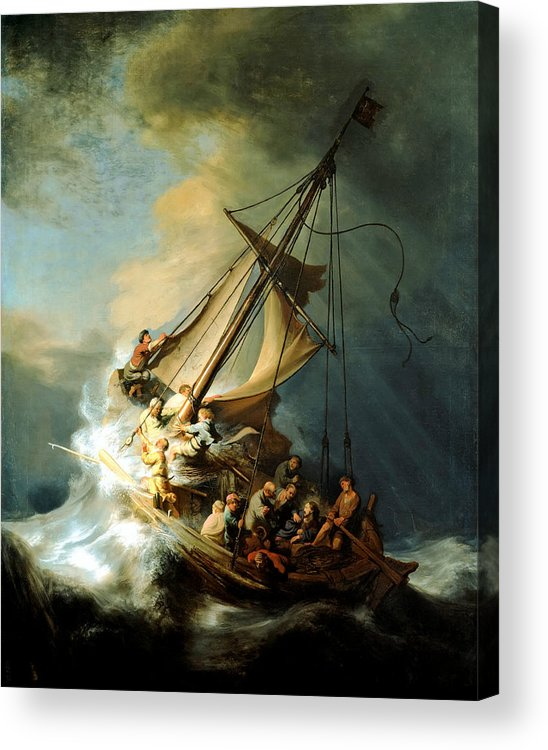 Christ In Storm Acrylic Print featuring the painting Christ In The Storm by Rembrandt