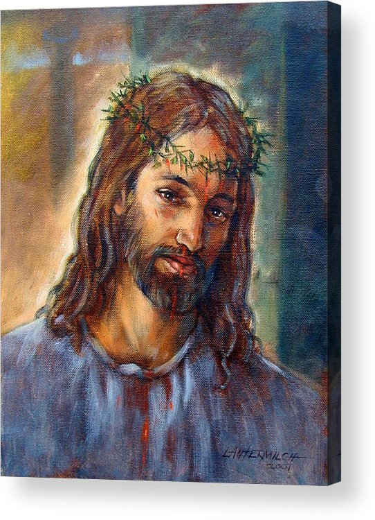 Christ Acrylic Print featuring the painting Christ With Thorns by John Lautermilch