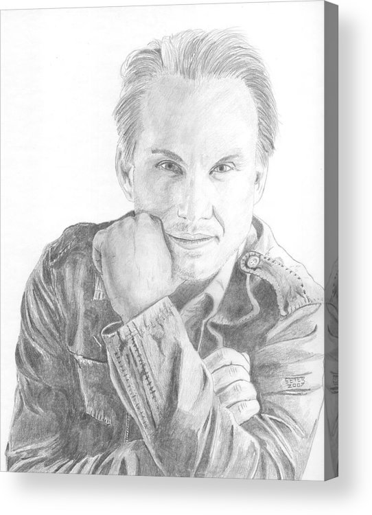 Christian Slater Acrylic Print featuring the drawing Christian Slater by David Seter