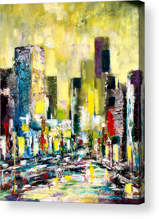 Abstract Acrylic Print featuring the painting City Sunrise by Claude Marshall