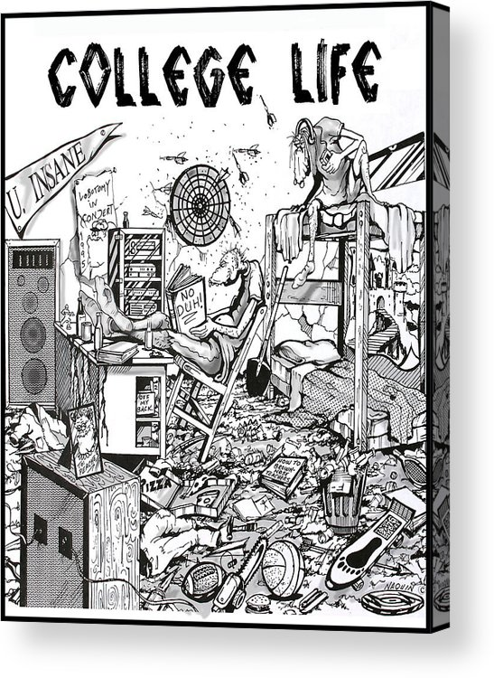 Cartoon Acrylic Print featuring the drawing College Life by Keith Naquin