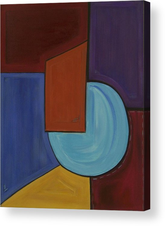 Geometric Abstract Acrylic Print featuring the painting Color Me Happy by Sandy Bostelman