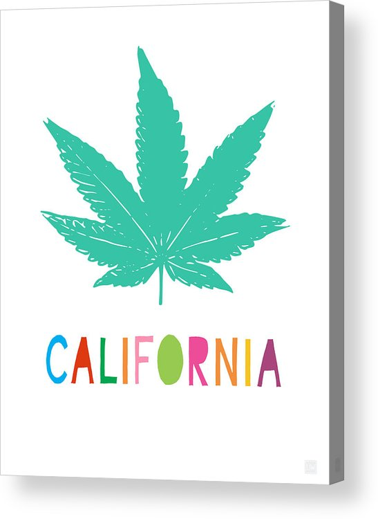 California Acrylic Print featuring the mixed media Colorful California Cannabis- Art By Linda Woods by Linda Woods