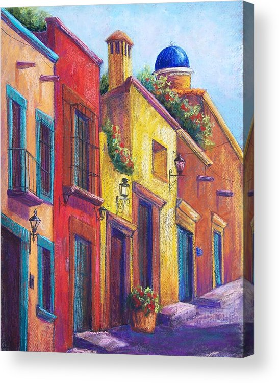 Landscape Acrylic Print featuring the pastel Colorful San Miguel by Candy Mayer