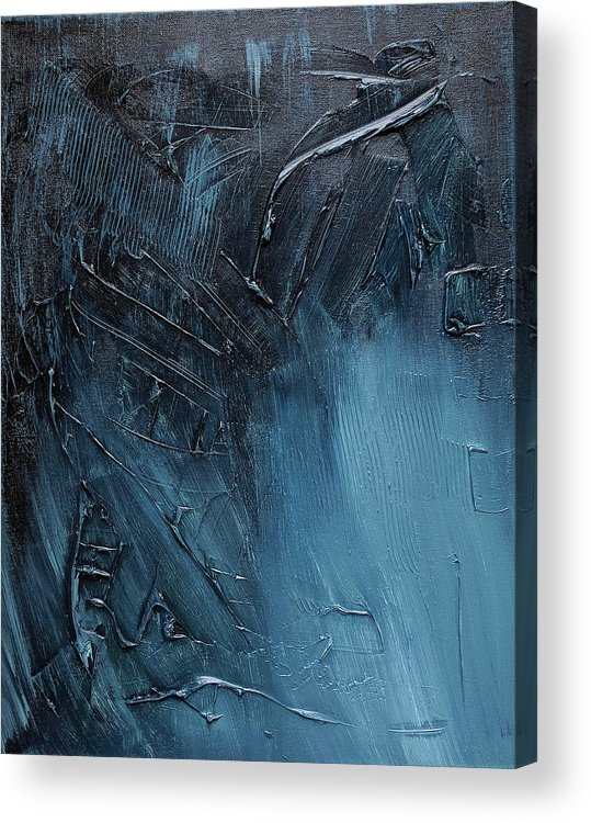 Abstract Art Acrylic Print featuring the painting Complex Blues by Trisha Pena