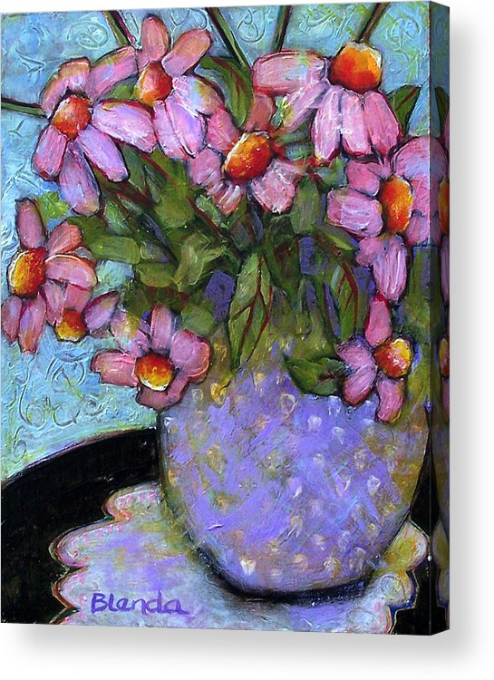 Flowers Acrylic Print featuring the painting Coneflowers In Lavender Vase by Blenda Studio