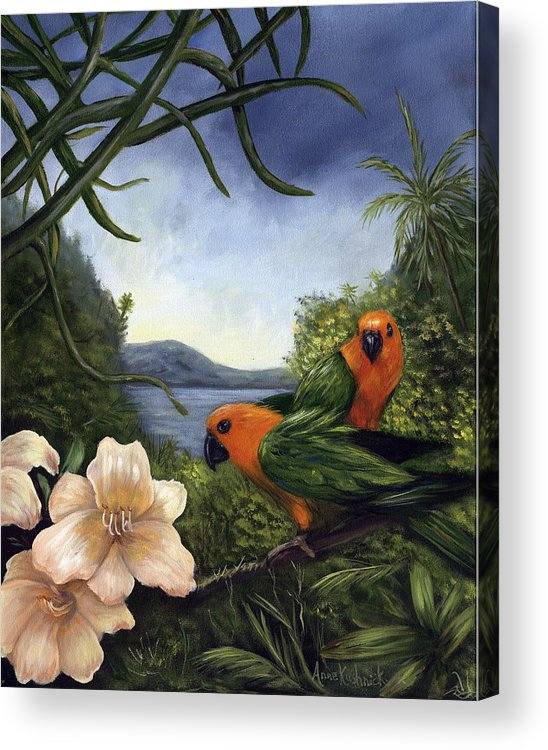 Landscape Acrylic Print featuring the painting Conures by Anne Kushnick