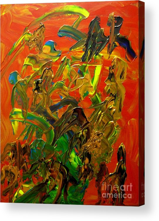 Abstract Acrylic Print featuring the painting Conversations by Karen L Christophersen