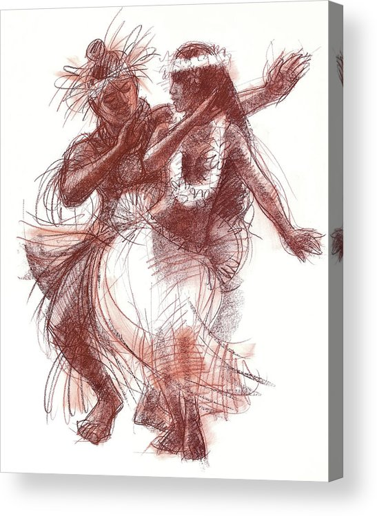 South Pacific Dancer Acrylic Print featuring the drawing Cook Islands Pas-de-deux by Judith Kunzle