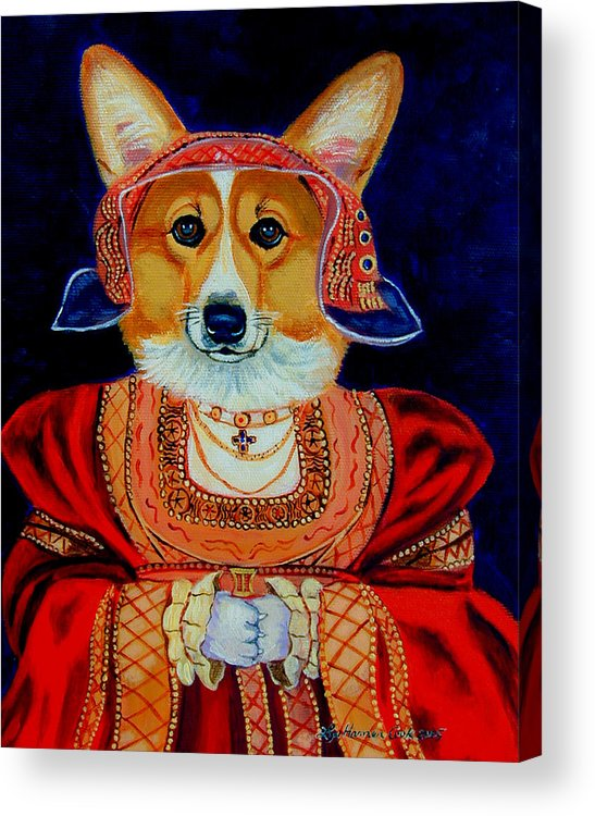 Pembroke Welsh Corgi Acrylic Print featuring the painting Corgi Queen by Lyn Cook