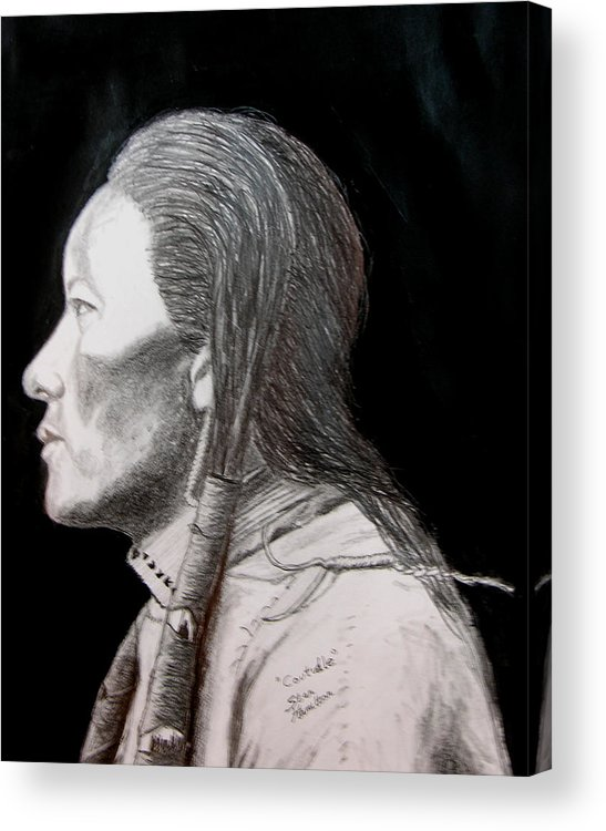 Indian Portrait Acrylic Print featuring the drawing Coutudle by Stan Hamilton